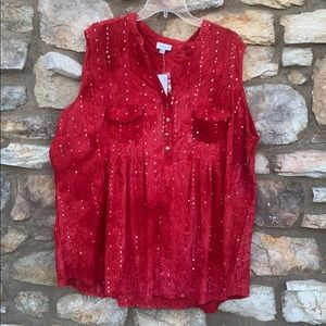 Avenue red sleeveless blouse 26/28